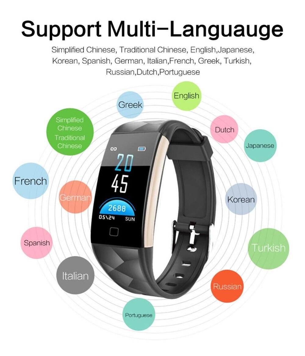 Black Smart Watch Bracelet T20 - Waterproof, Colorful Screen, Heart Rate Blood Pressure - 8