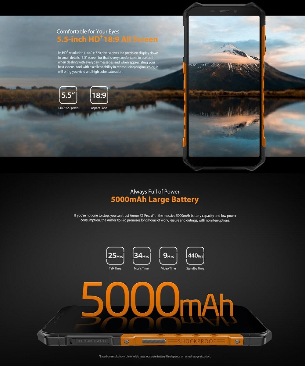 Ulefone Armor X5 Pro Rugged Phone 4GB+64GB (Black) - 7