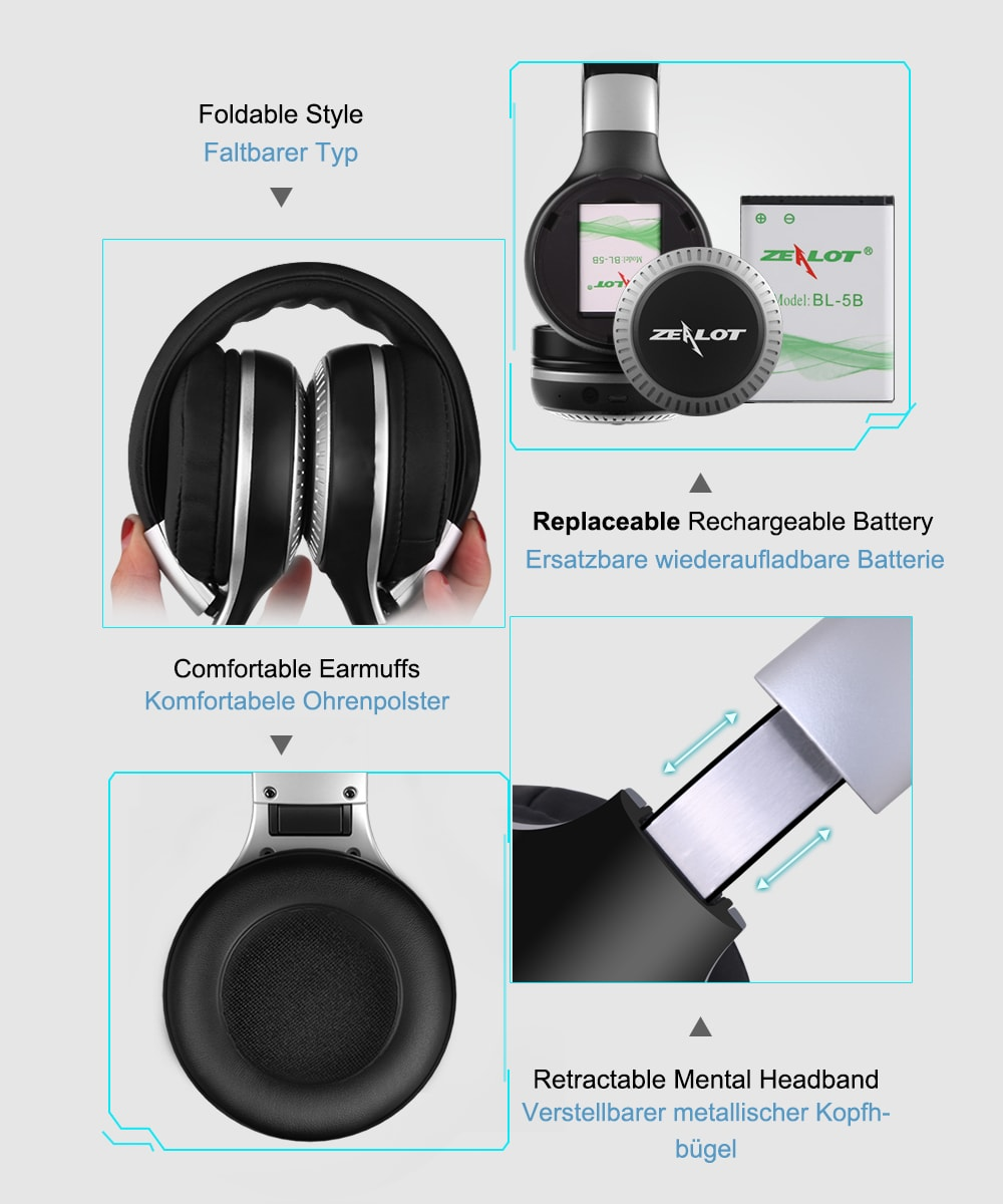 ZEALOT B20 Bluetooth Headset with HD Sound Bass Stereo Over Ear Wireless Headphone with Mic for Smartphones Black N/A - 11