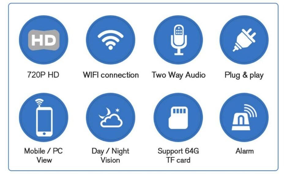 HD 720P Mini IP Camera Wifi Camera Wireless P2P Security Camera Night Vision Baby Monitor UK Plug - 4