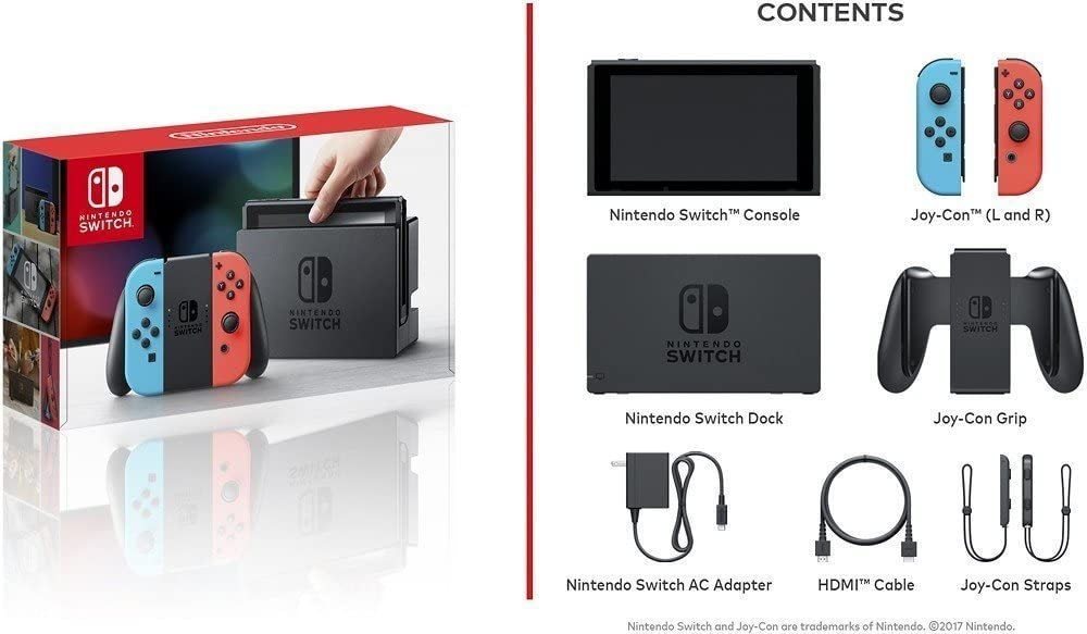 Nintendo Switch with Neon Blue and Neon Red Joy-Con Touchscreen LCD Display NVIDIA Custom Tegra Processor Carrying Case Multi-Colored - 4