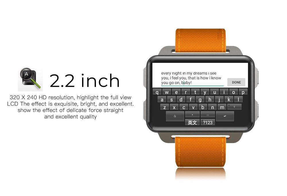 LEMFO LEM4 Pro 2.2 Inch Display 3G Smart Watch Android 5.1 1200mAh Lithium Battery 1GB + 16GB Wifi Take Video Orange - 3