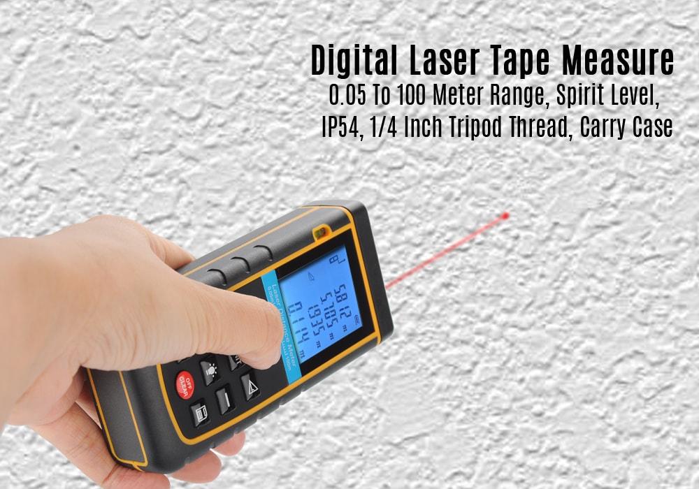 Digital Laser Tape Measure - 0.05 To 100 Meter Range, Spirit Level, IP54, 1/4 Inch Tripod Thread, Carry Case - 7