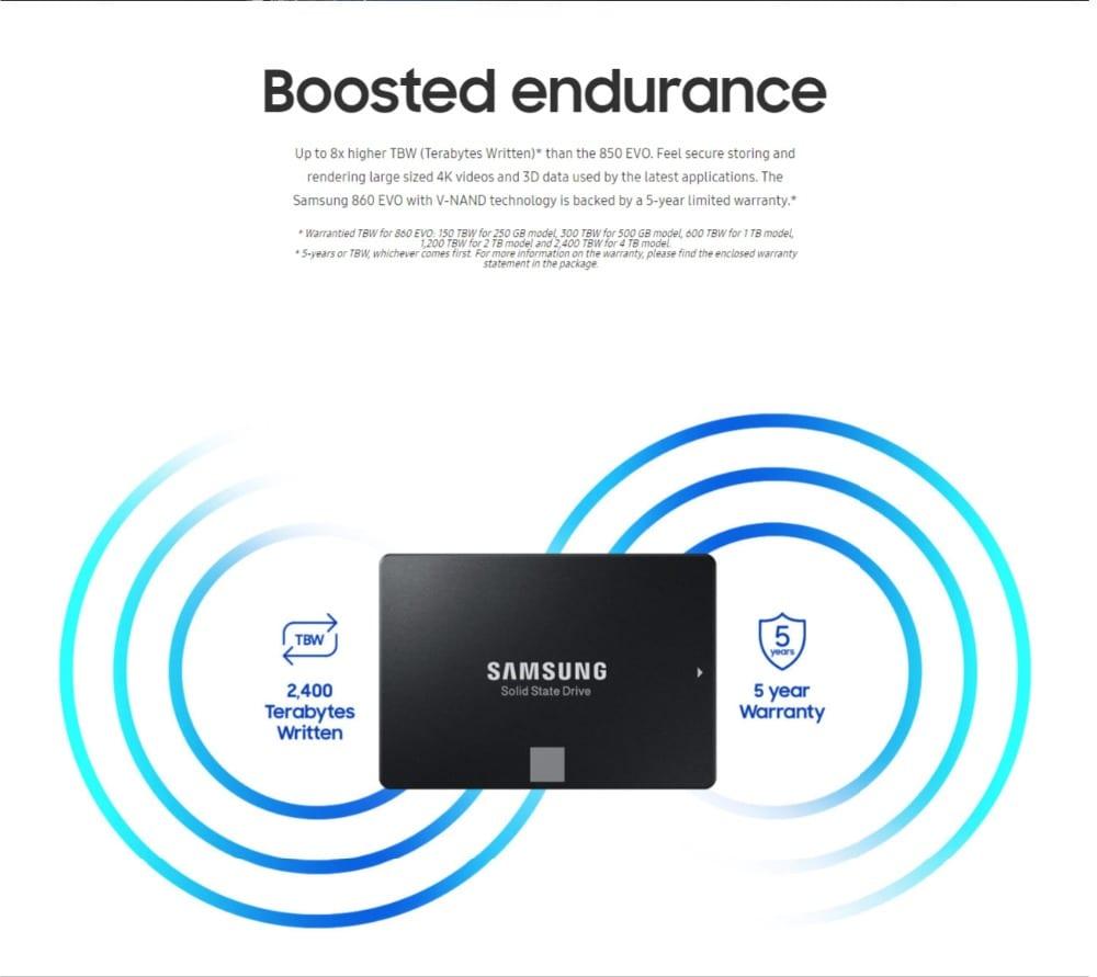 Original Samsung 860 Evo 250GB SATA III Internal Solid State Drive (MZ-76E250BW) for Laptop Desktop PC - 5