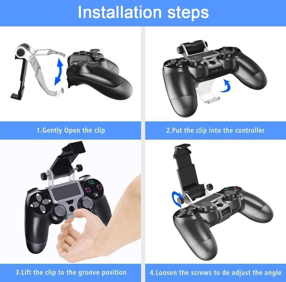 270x Degree PS4 Wireless Controller Phone clip Mountx Holder Stand Bracket Compatible with PS4 Pro/Slim Dualshock 4 Black - 4