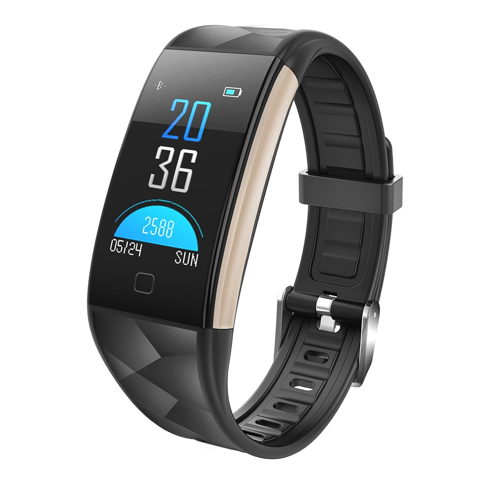 Black Smart Watch Bracelet T20 - Waterproof, Colorful Screen, Heart Rate Blood Pressure - 1