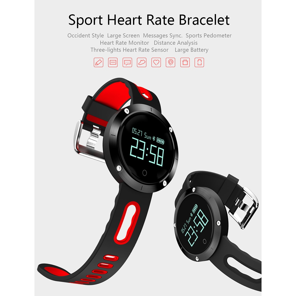 DOMINO DM58 0.95 Inch Round Display Screen Smart Bracelet Heart Rate Monitor Sport Wristband Fitness Tracker Black - 10