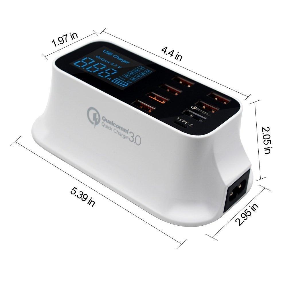 Fast Charging Station Multiple USB Charger 7 Port Desktop Charger Hub LED Display Power Adapter US Plug - 2