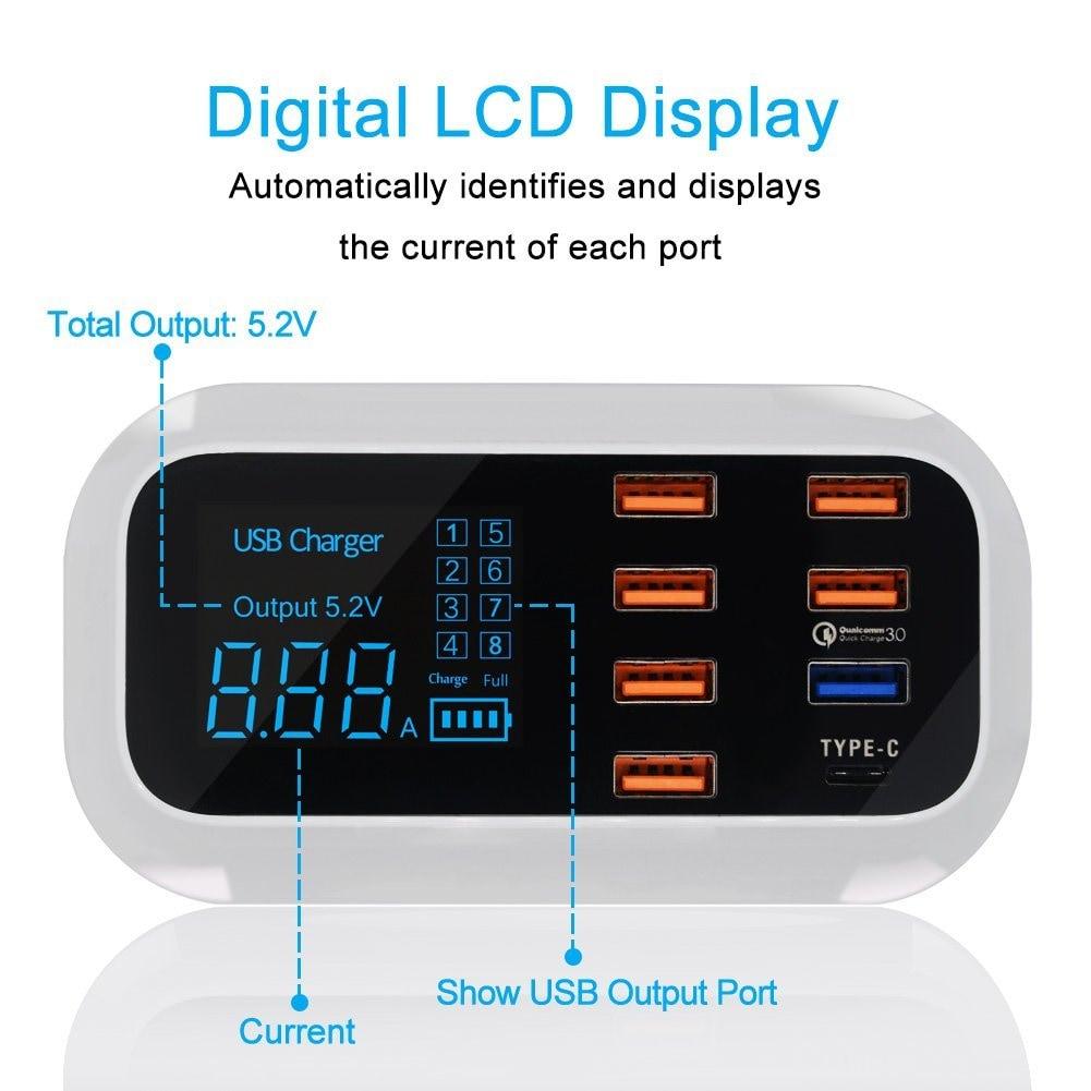 Fast Charging Station Multiple USB Charger 7 Port Desktop Charger Hub LED Display Power Adapter US Plug - 3