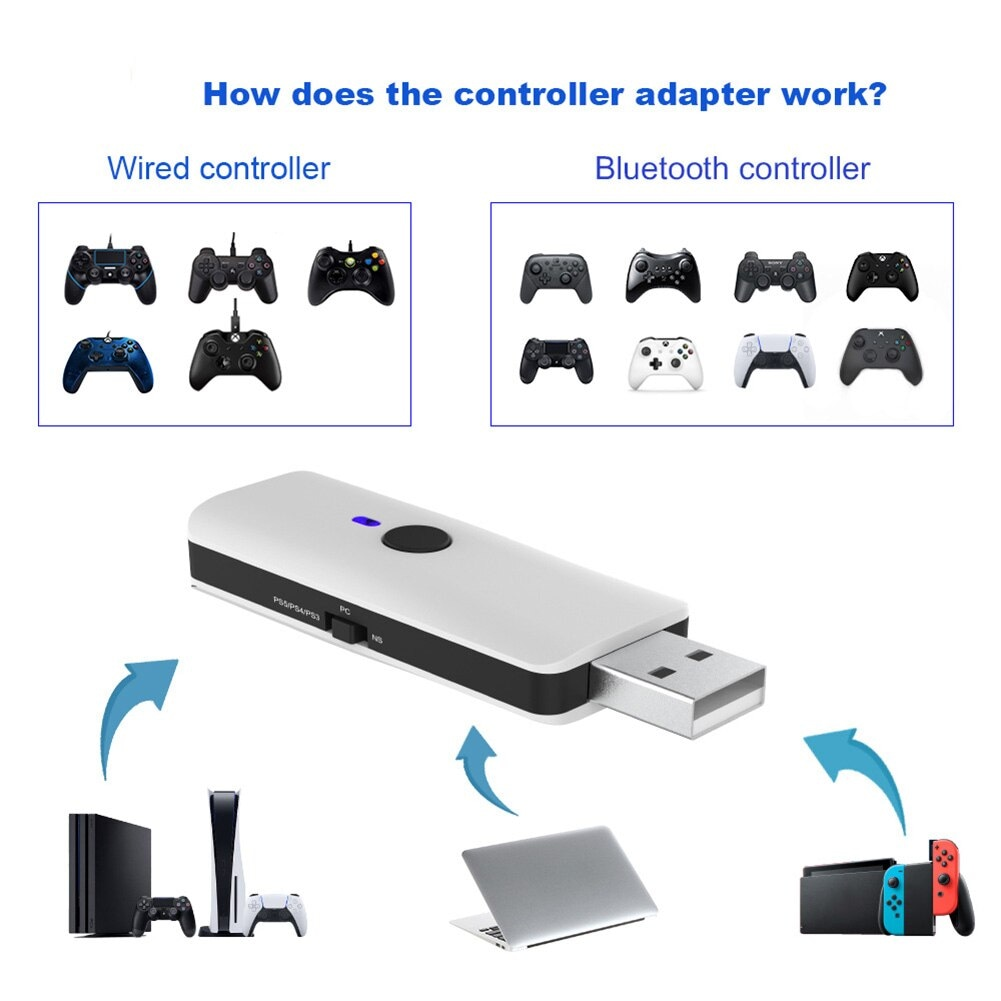 Handle controllers adapter for PS5 Multi-Controllers PS4, Switch, PC, P3 White - 4