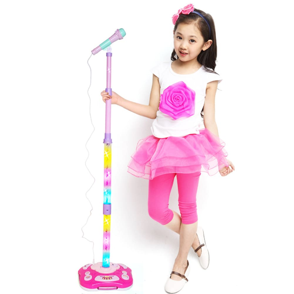 Kids Karaoke Stand Microphone Toys Adjustable Cool Music Microphone Toy Connect Mobile Phone - 1