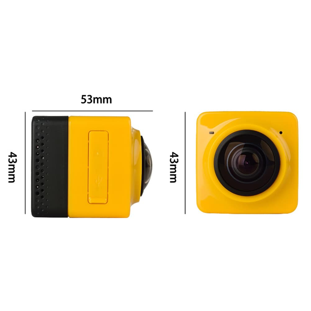 Mini WiFi 360 Degree Panoramic Wide Angle Action Camera Sports Cam Recorder with Standard 1/4 Screw Interface Yellow - 4