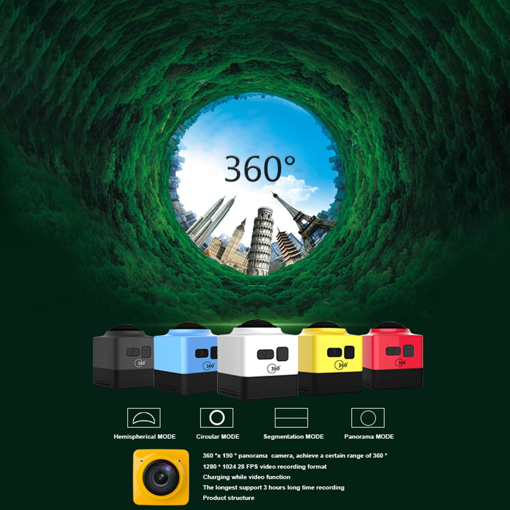 Mini WiFi 360 Degree Panoramic Wide Angle Action Camera Sports Cam Recorder with Standard 1/4 Screw Interface Yellow - 7