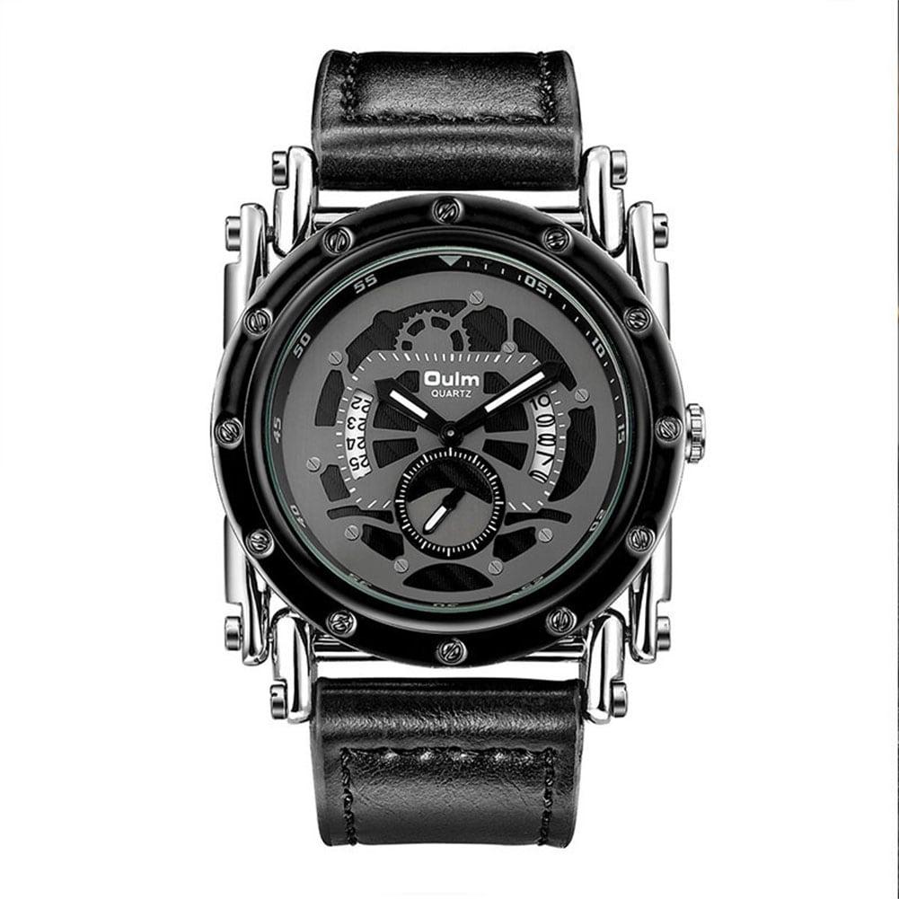 Oulm HP3399 Men PU Leather Strap Quartz Wrist Watch Two Time Zone Analog Display Sport Watch  Black - 3