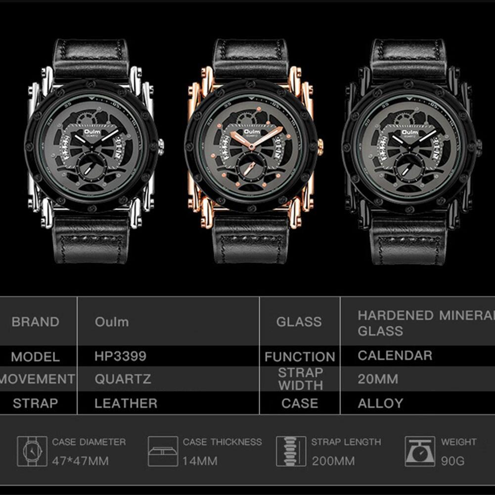 Oulm HP3399 Men PU Leather Strap Quartz Wrist Watch Two Time Zone Analog Display Sport Watch  Black - 6