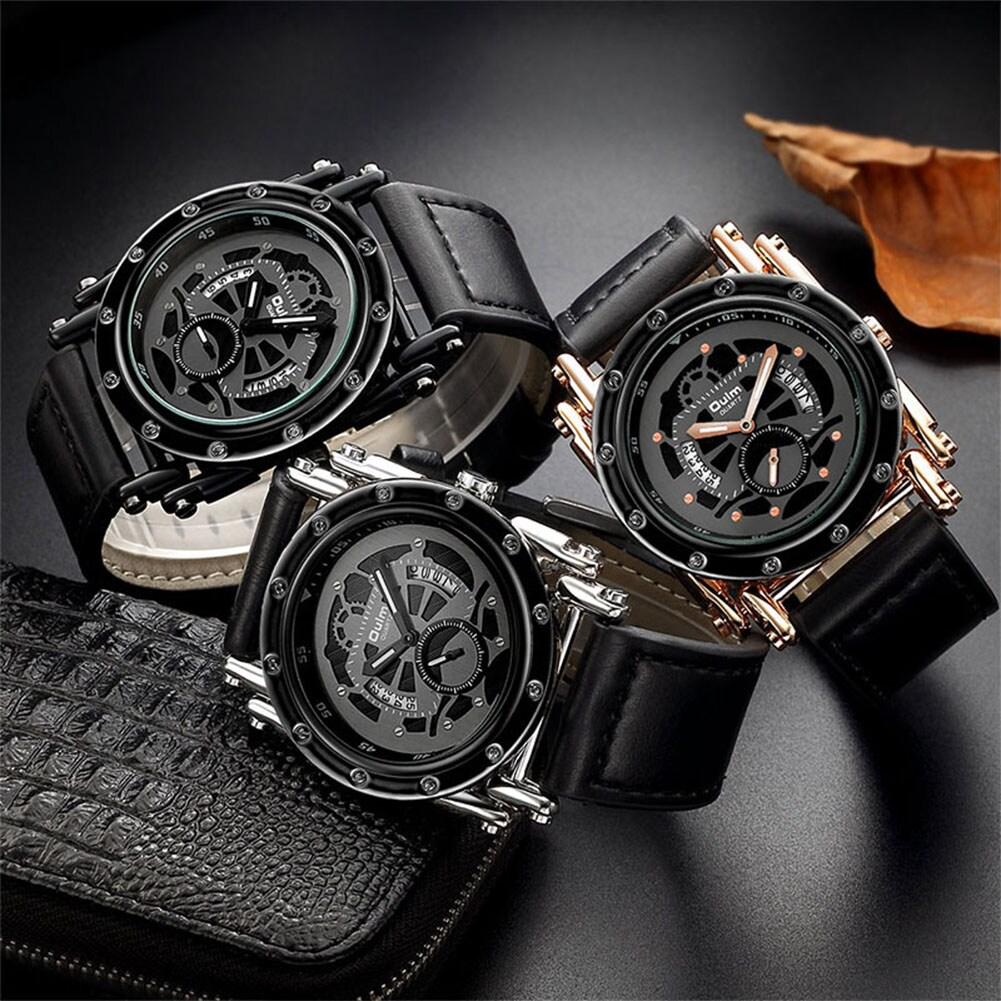 Oulm HP3399 Men PU Leather Strap Quartz Wrist Watch Two Time Zone Analog Display Sport Watch  Black - 1