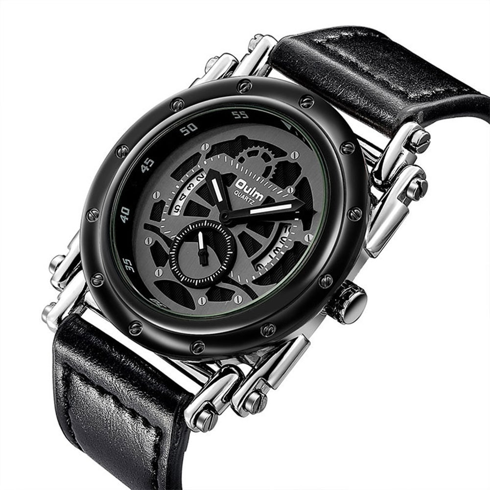 Oulm HP3399 Men PU Leather Strap Quartz Wrist Watch Two Time Zone Analog Display Sport Watch  Black - 4