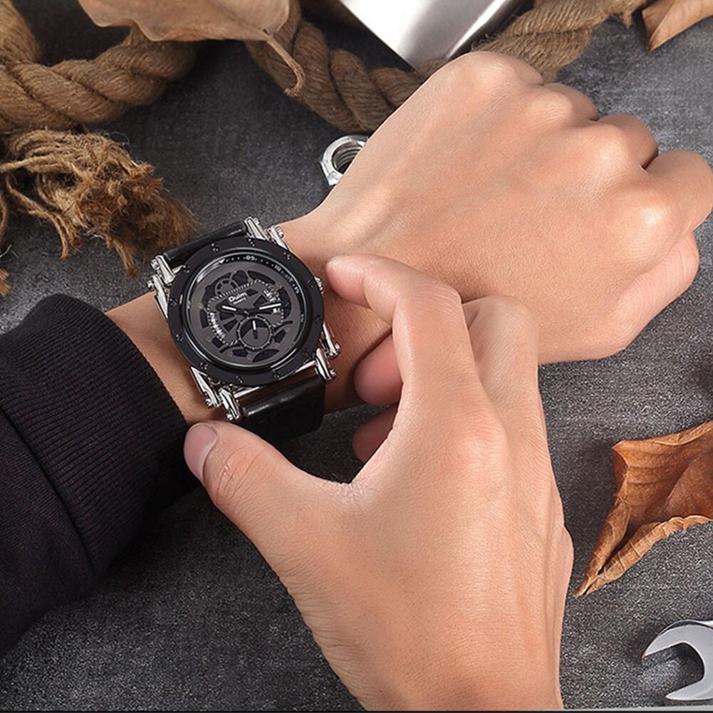 Oulm HP3399 Men PU Leather Strap Quartz Wrist Watch Two Time Zone Analog Display Sport Watch  Gold - 2