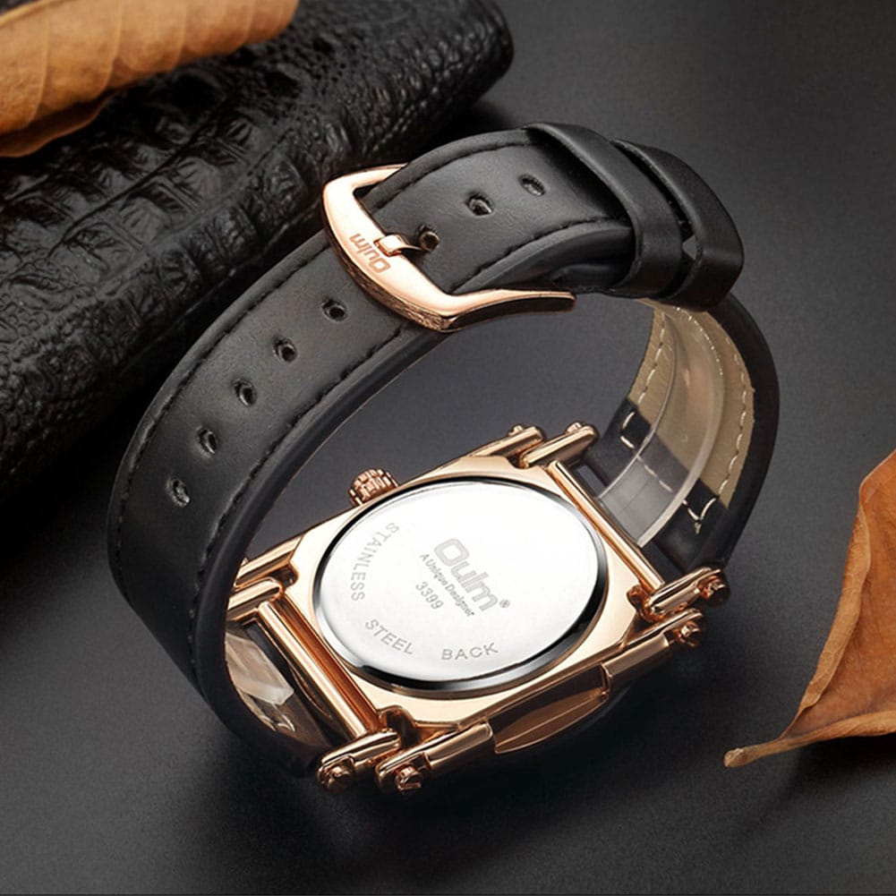 Oulm HP3399 Men PU Leather Strap Quartz Wrist Watch Two Time Zone Analog Display Sport Watch  Gold - 5