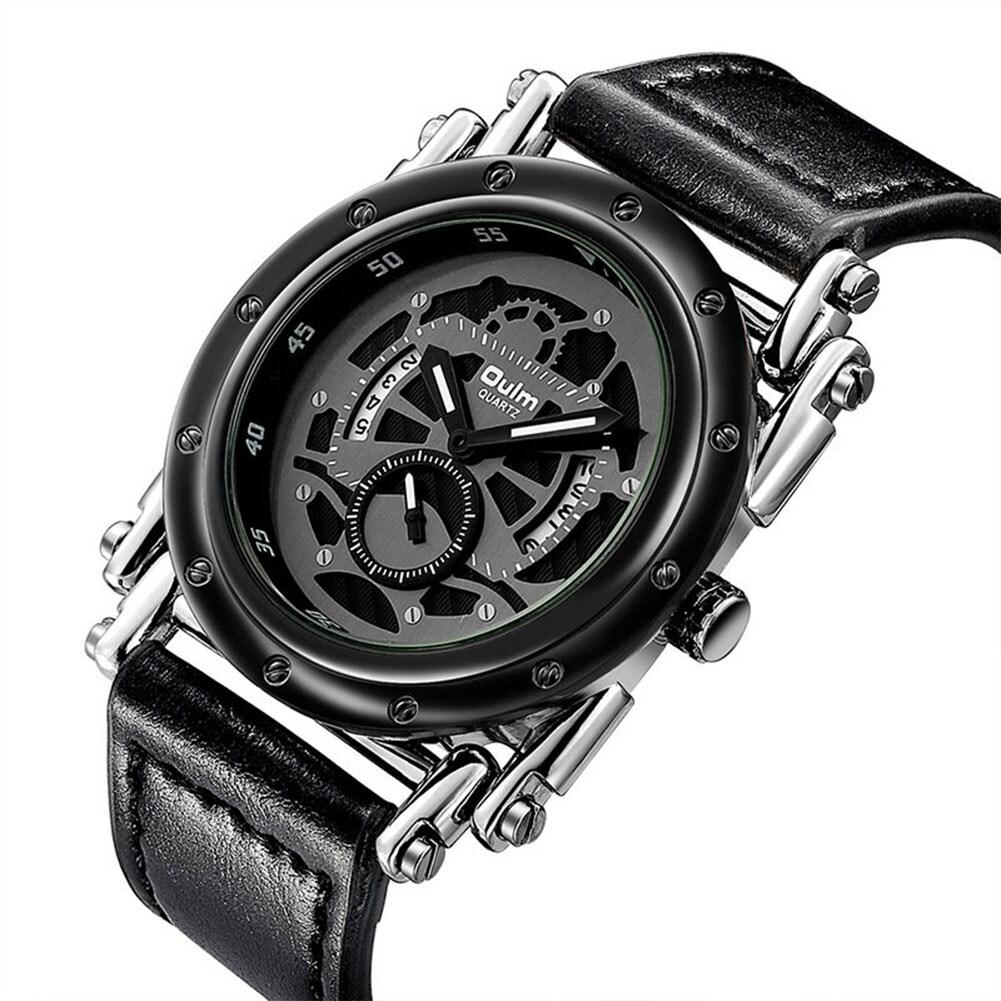 Oulm HP3399 Men PU Leather Strap Quartz Wrist Watch Two Time Zone Analog Display Sport Watch  Gold - 4
