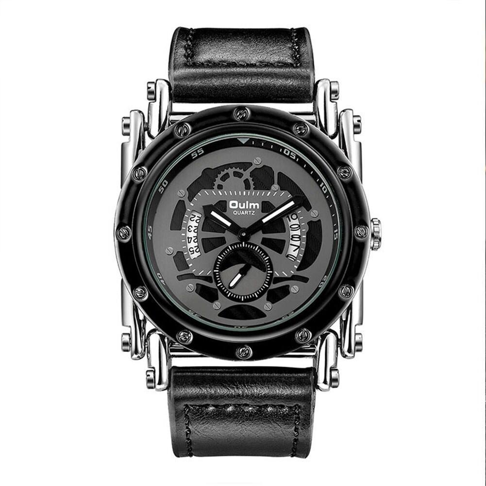 Oulm HP3399 Men PU Leather Strap Quartz Wrist Watch Two Time Zone Analog Display Sport Watch  Silver - 3