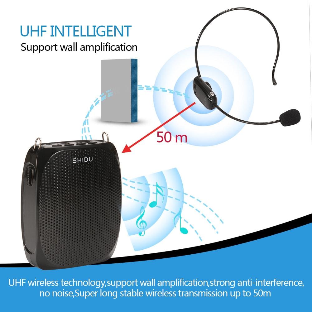 SHIDU 10 Watts UHF Wireless Voice Amplifier - Black - 5