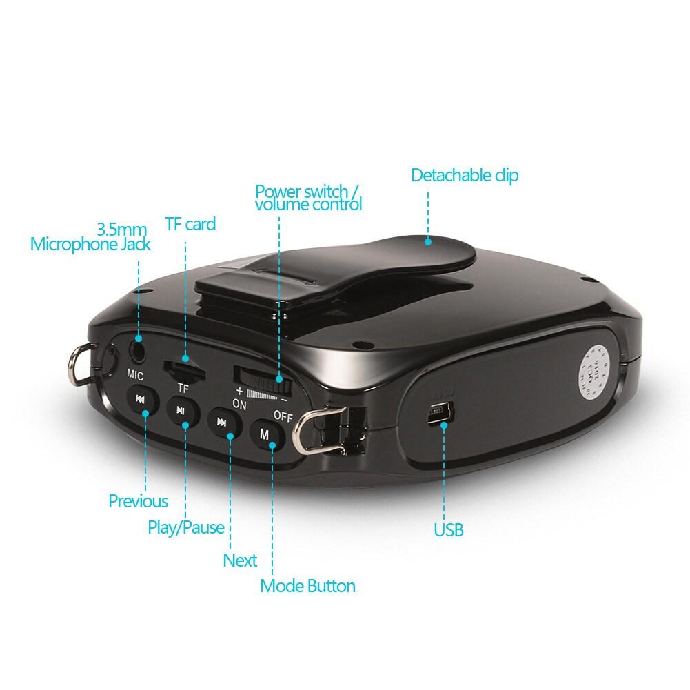 SHIDU 10 Watts UHF Wireless Voice Amplifier - Black - 2