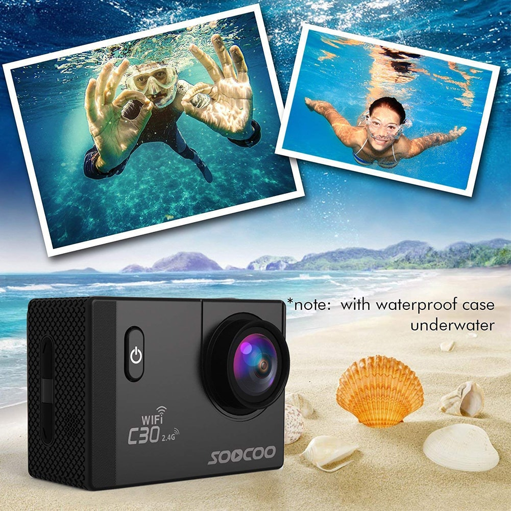SOOCOO C30R Wifi 4K Sports Action Camera - Gyro 2.0 inch, LCD Screen, 30M Waterproof, Adjustable Angle Pink - 7