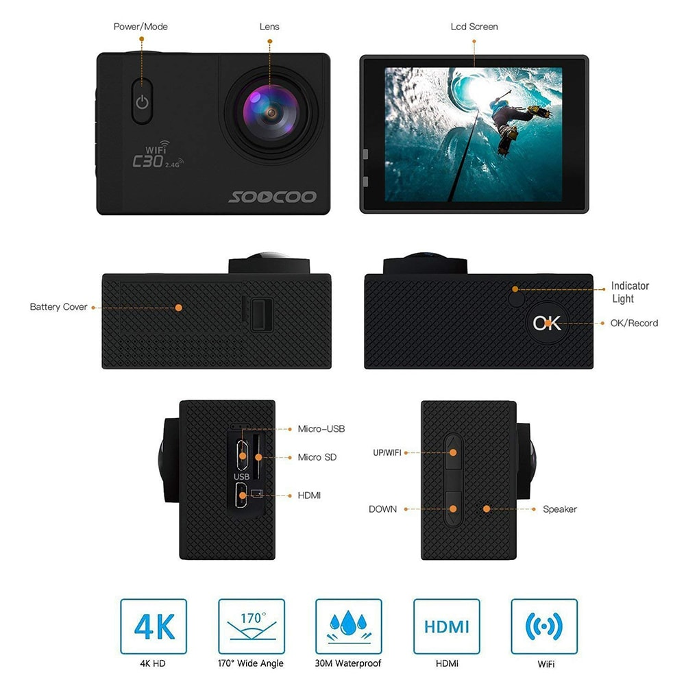 SOOCOO C30R Wifi 4K Sports Action Camera - Gyro 2.0 inch, LCD Screen, 30M Waterproof, Adjustable Angle Yellow - 8