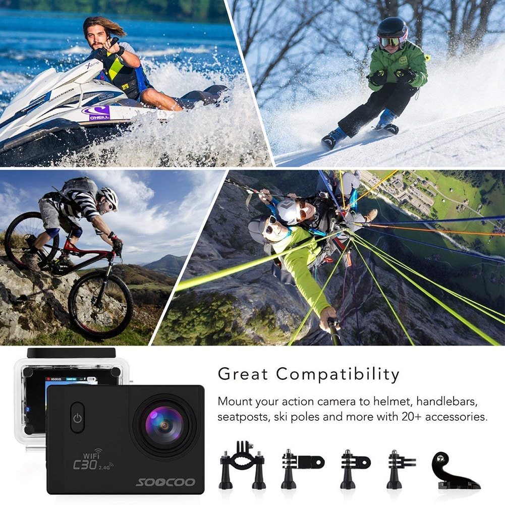 SOOCOO C30R Wifi 4K Sports Action Camera - Gyro 2.0 inch, LCD Screen, 30M Waterproof, Adjustable Angle Yellow - 12