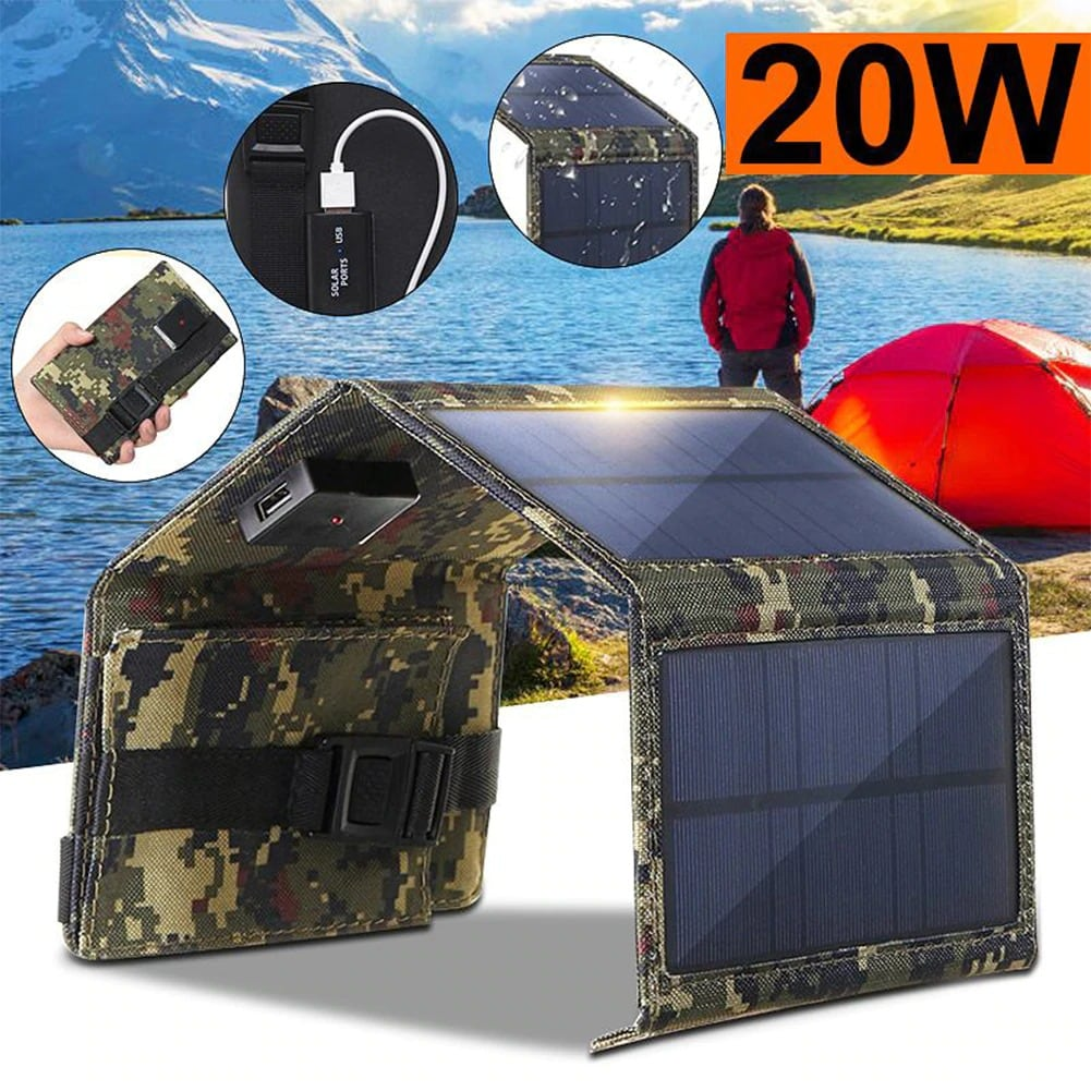Waterproof Foldable USB Solar Panel Portable Charger 20W Green Camo - 3