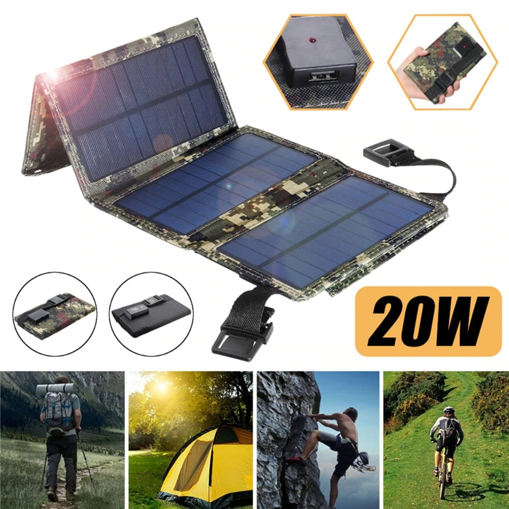 Waterproof Foldable USB Solar Panel Portable Charger 20W Green Camo - 5