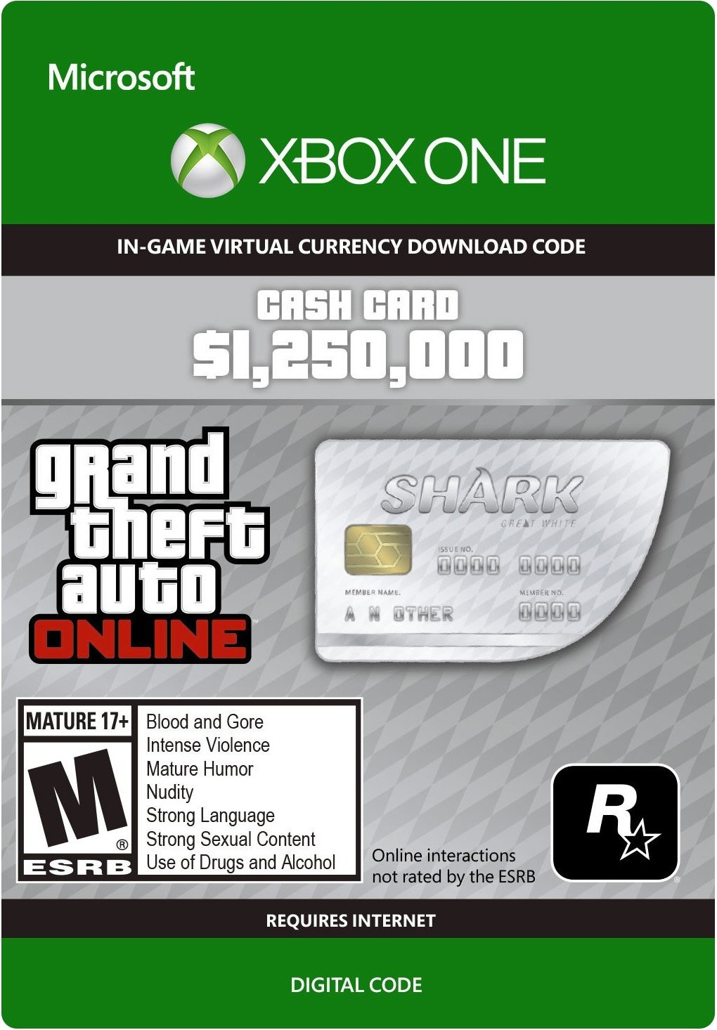 Grand Theft Auto Online: Great White Shark Cash Card 1 250 000 Xbox Live Key GLOBAL - 1