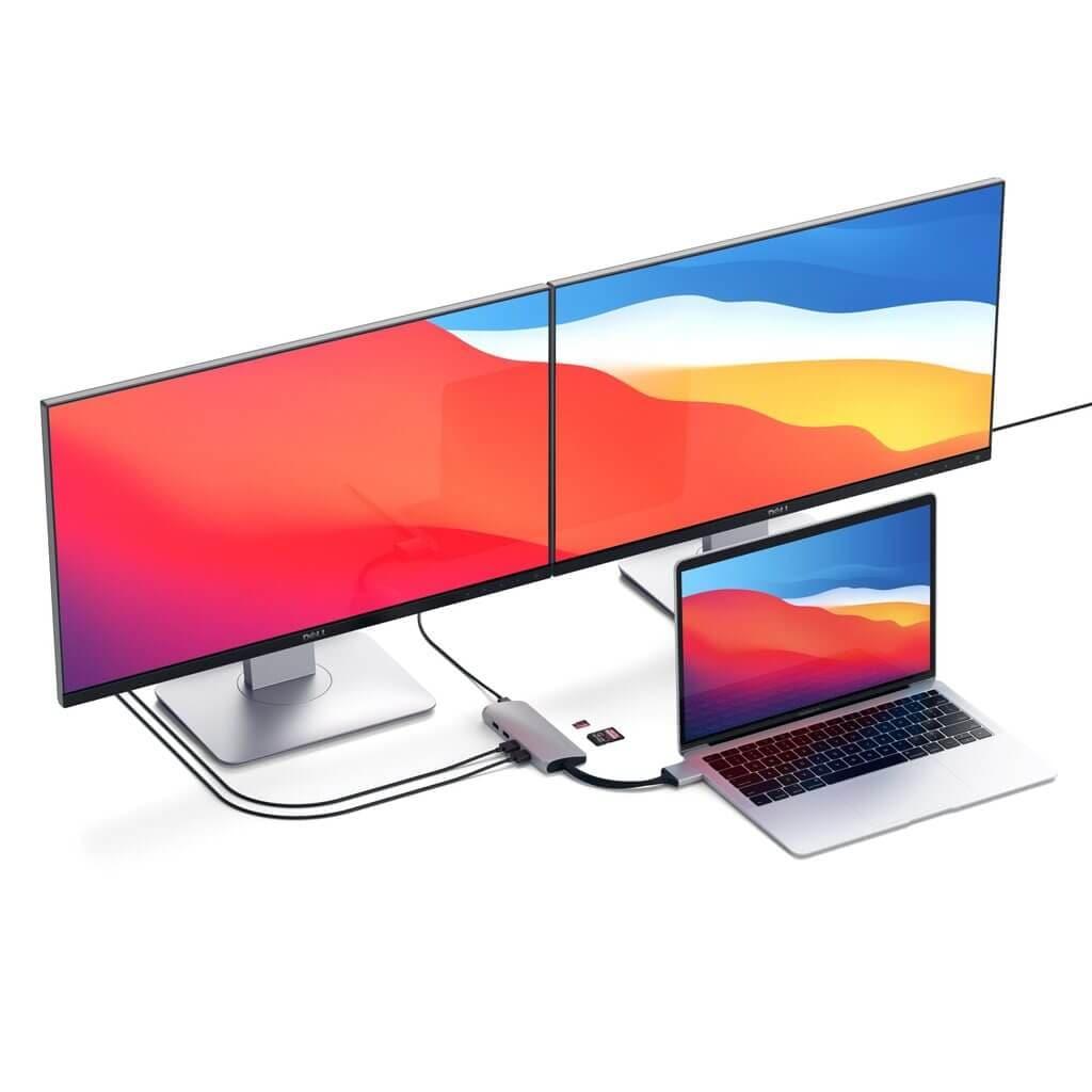 Satechi - Type-C Dual Multimedia Adapter 2x 4k HDMI - Silver - 6