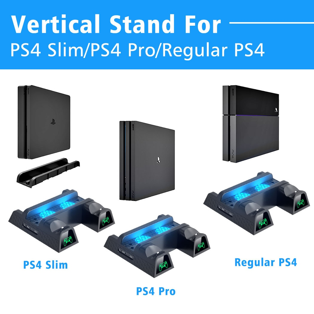 Vertical Cooling Stand for all SONY Playstation 4 Consoles with Dual Controller Charger Black Gaming - 2