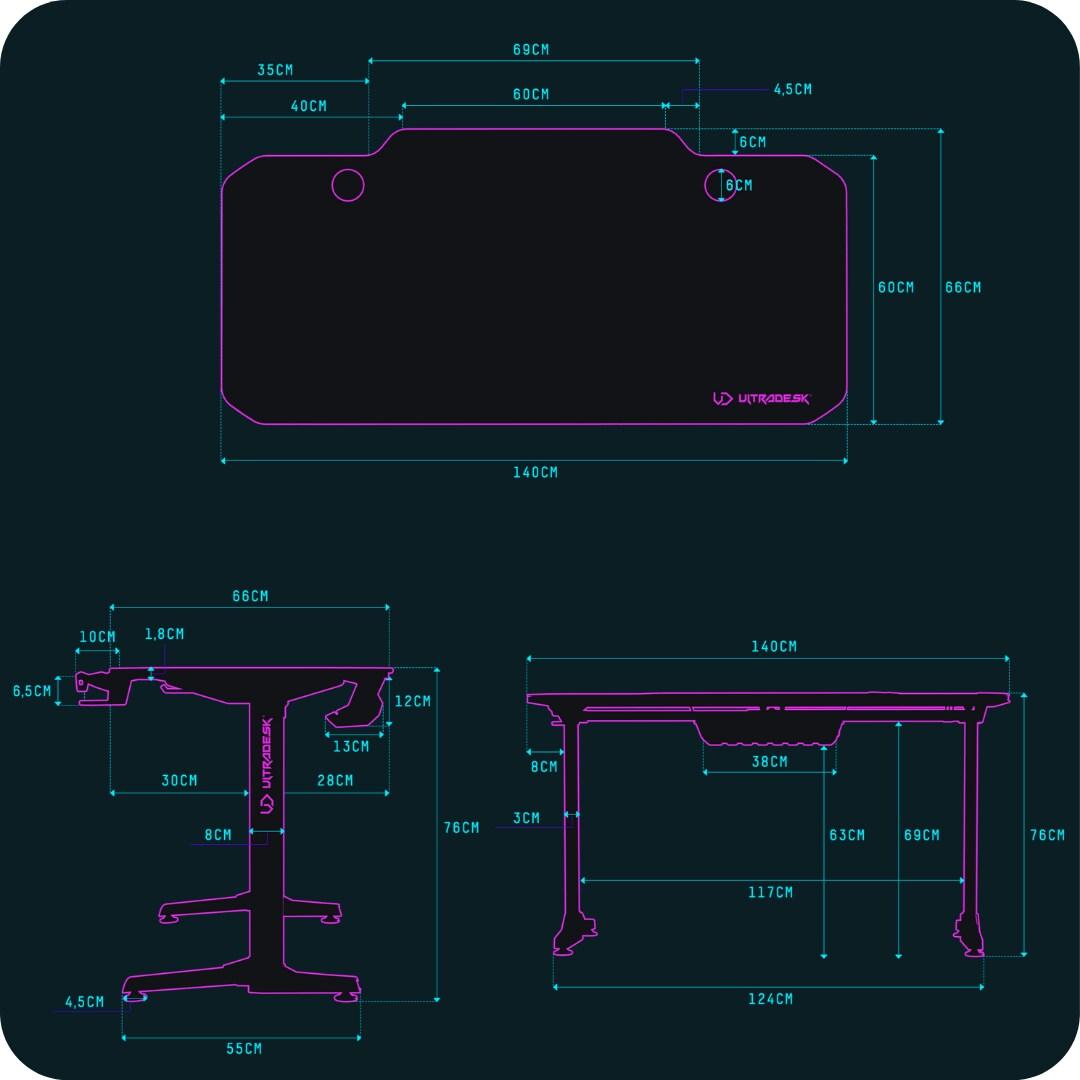 ULTRADESK FRAG BLACK - gaming desk 140x66 cm Gaming - 10