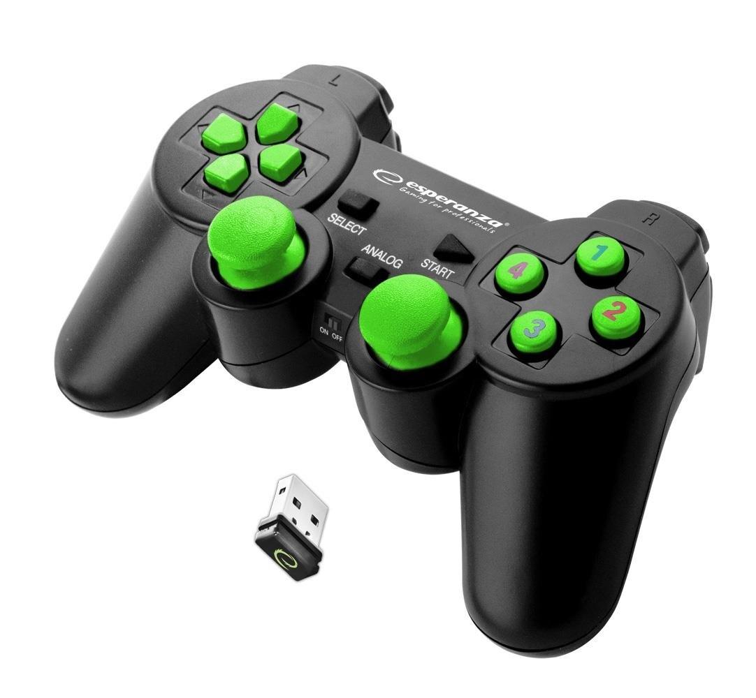Gamepad Bezprzewodowy Ps3/Pc Esperanza Gladiator Czarno/Zielony - 1