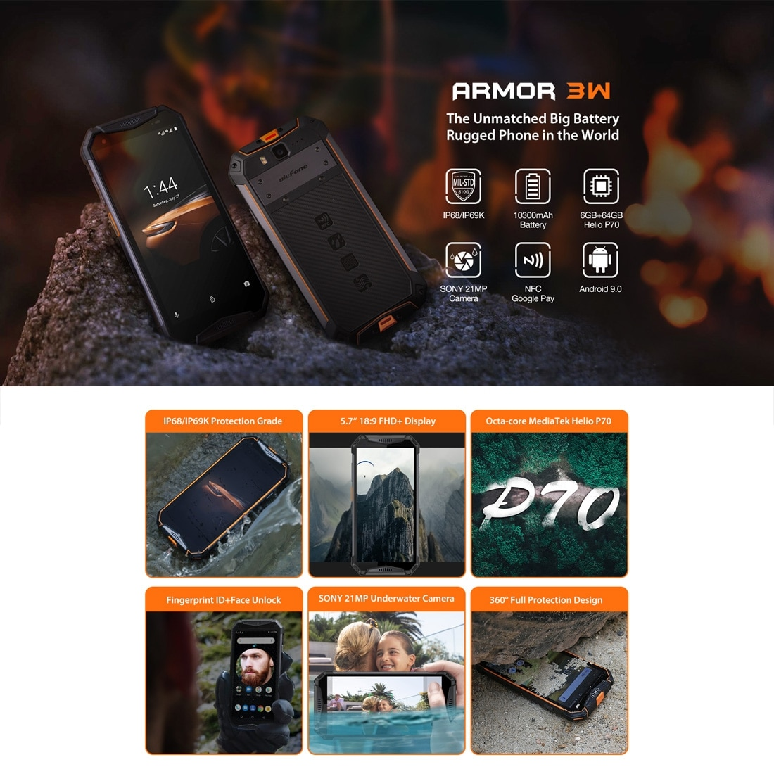 Ulefone Armor 3W Rugged Phone Dual 4G 6GB+64GB (Black) - 3