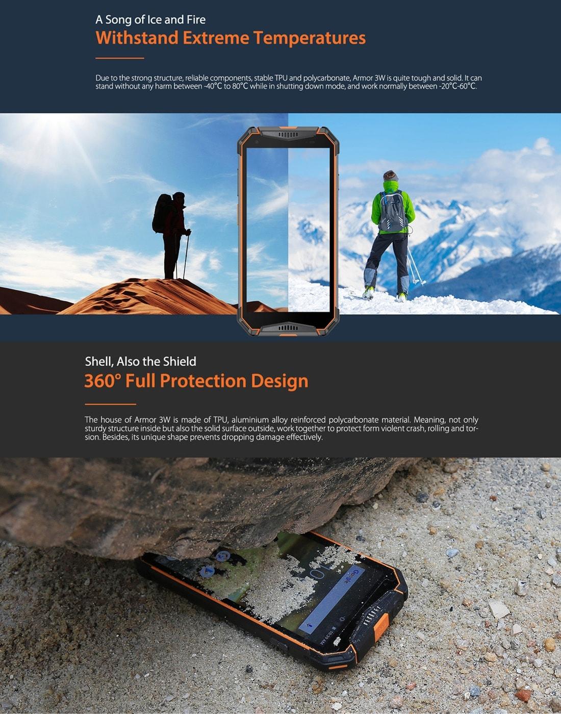 Ulefone Armor 3W Rugged Phone Dual 4G 6GB+64GB (Black) - 6