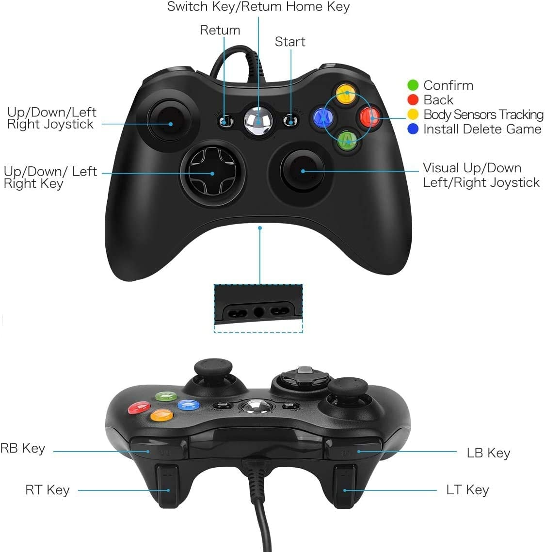 USB Wired Controller Game Accessories Gamepad Joypad Joystick For Microsoft XBOX360 Console PC Black - 5
