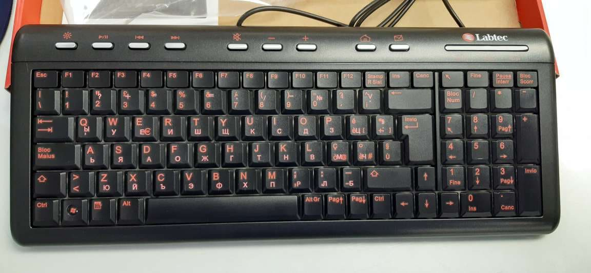 KBD Labtec Illuminated Ultra-Flat Keyboard, US + Cyrillic Layout - 2