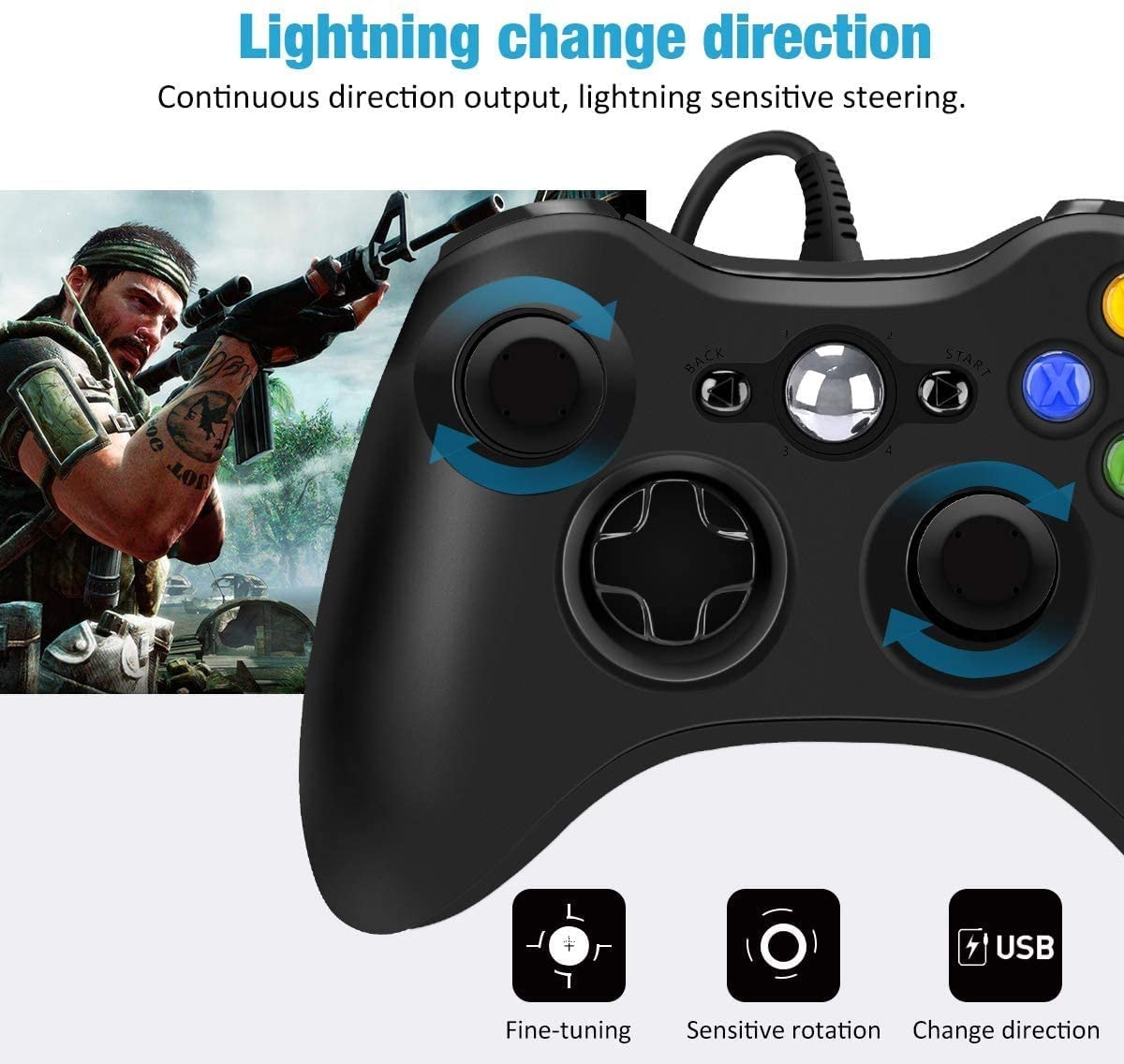USB Wired Controller Game Accessories Gamepad Joypad Joystick For Microsoft XBOX360 Console PC Black - 6