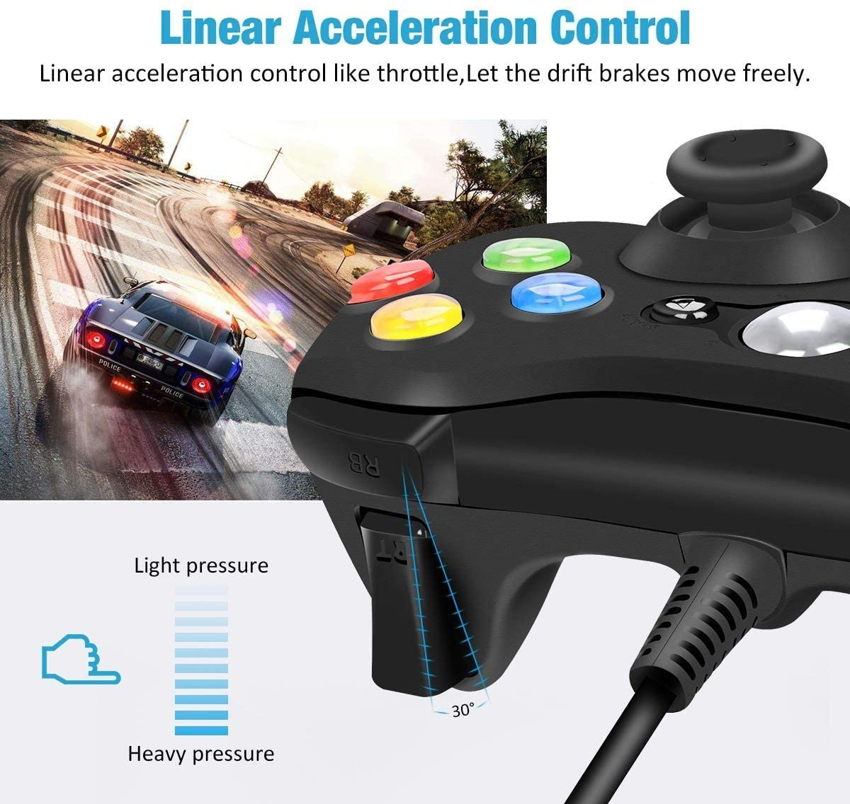 USB Wired Controller Game Accessories Gamepad Joypad Joystick For Microsoft XBOX360 Console PC Black - 3
