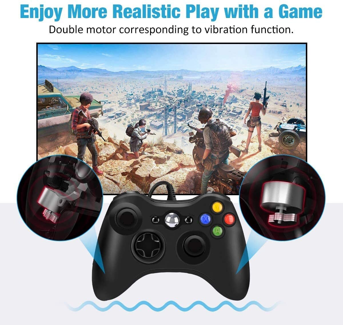 USB Wired Controller Game Accessories Gamepad Joypad Joystick For Microsoft XBOX360 Console PC Black - 4