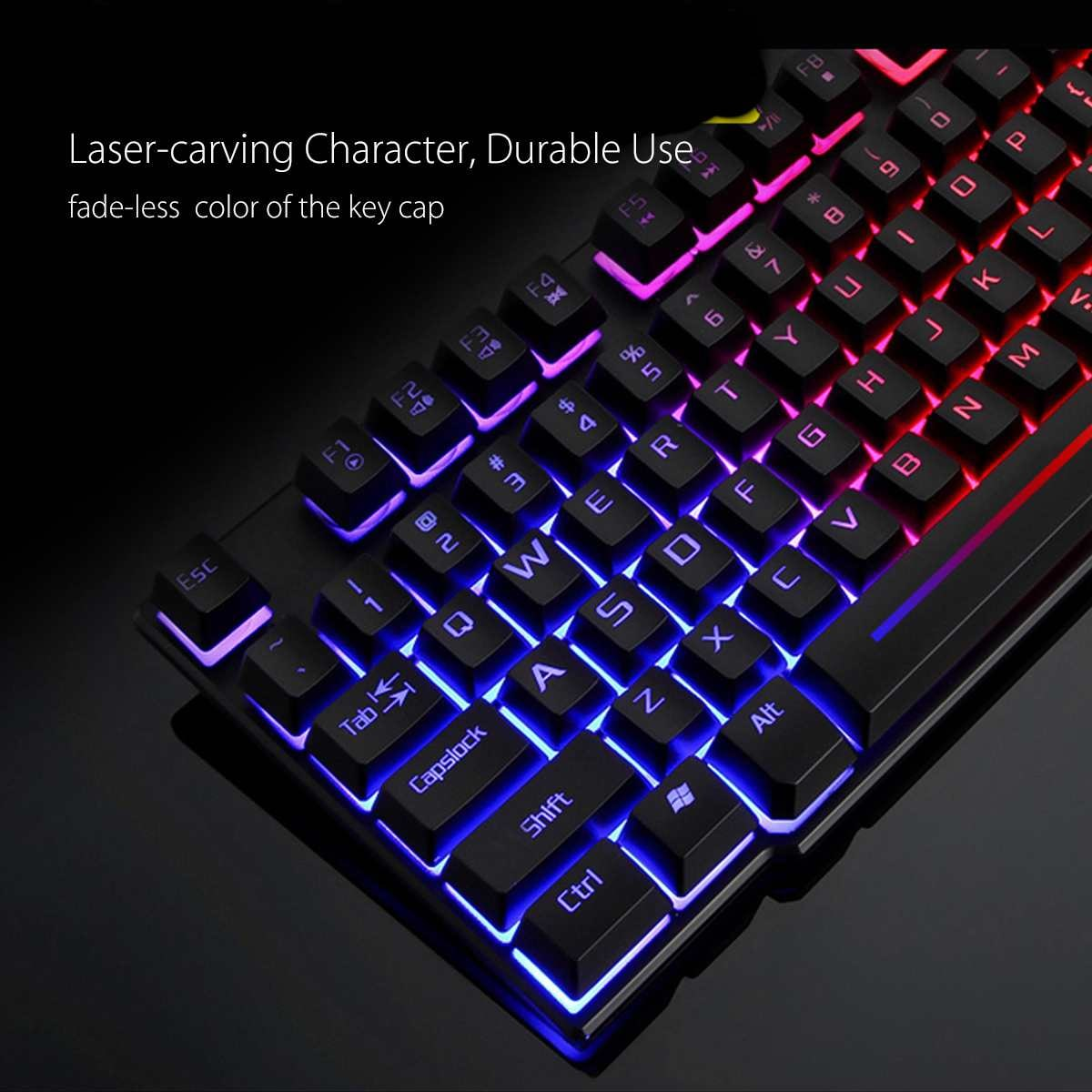 3in1 T6 Rainbow Backlit Keyboard Mouse PAD Set For PC PS4 PS3 Xbox One Black - 6