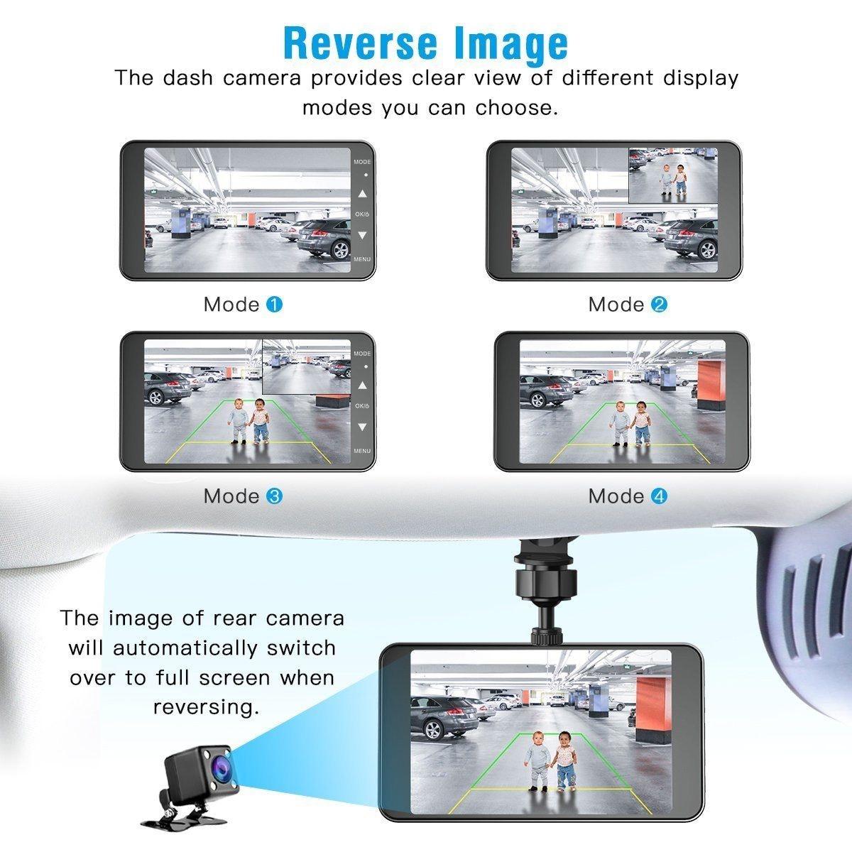 "4"" Vehicle 1080P Car Dashboard DVR Camera Video Recorder G-Sensor Dash Cam - 3"