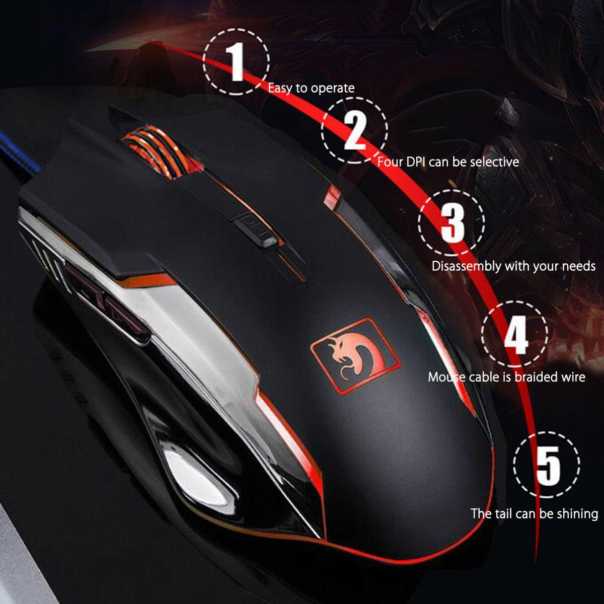 Desktop Gaming Keyboard + Mechanical Feel LED  Mouse with Light Backlit - 4