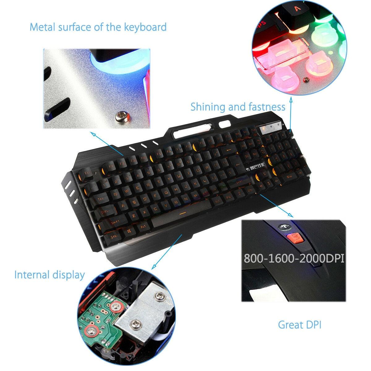 Desktop Gaming Keyboard + Mechanical Feel LED  Mouse with Light Backlit - 7