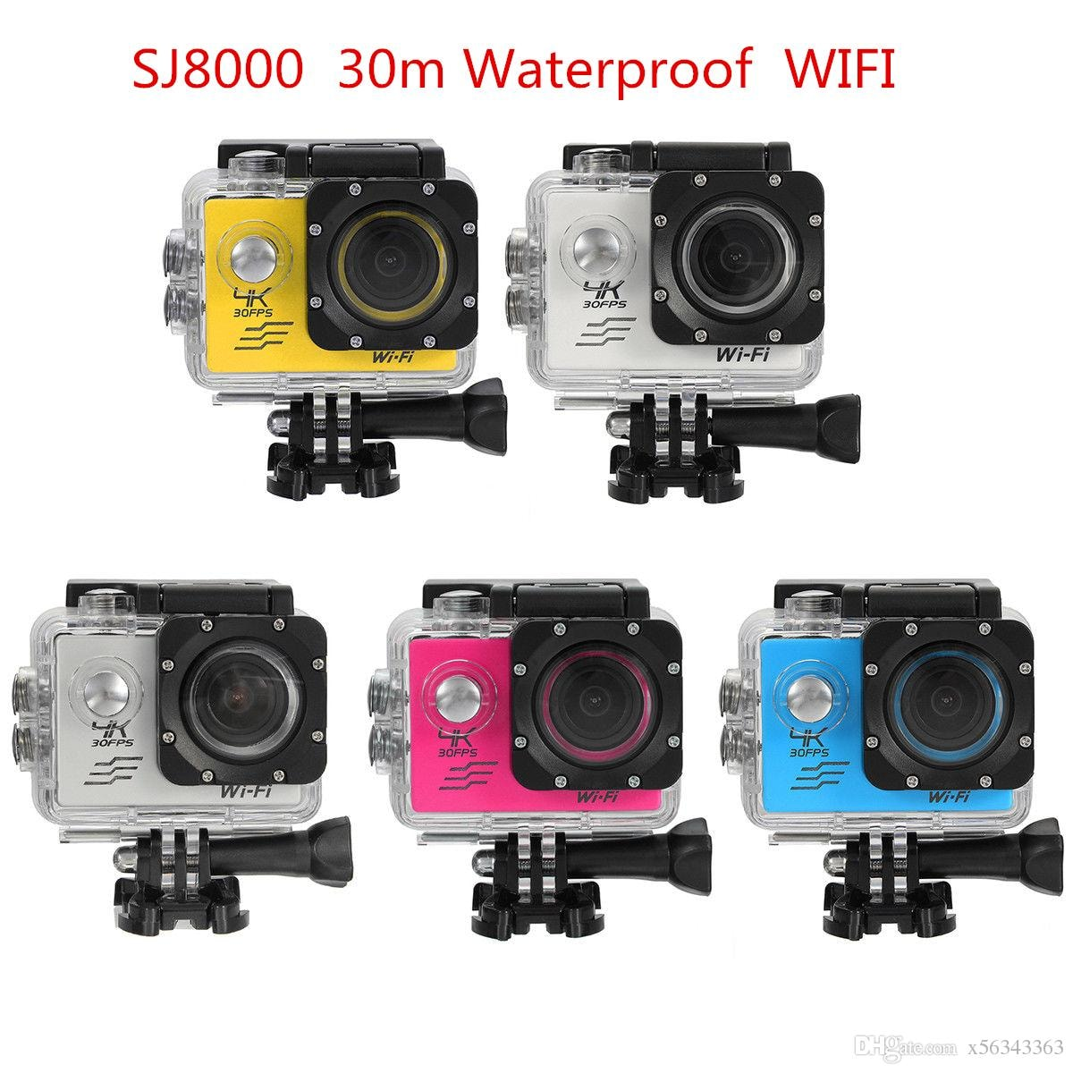 SJ8000 2.0 Inch Sport Action Camera - HD 4K 1080P, Wifi, DV 170 Degree Wide Angle Lens, 30M Waterproof, Remote Yellow - 1