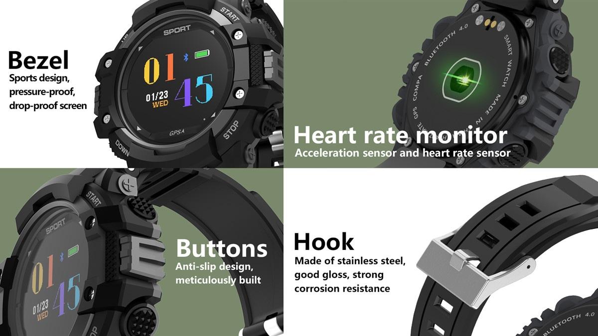 No.1 F7 Smartwatch - GPS, Bluetooth 4.2, Heart Rate, Pedometer, Sleep Monitor, Call Alert, IP67 Waterproof Gray - 8